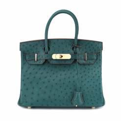 Women's Genuine Ostrich Skin Top Shoulder Handle Handbags Dark Green