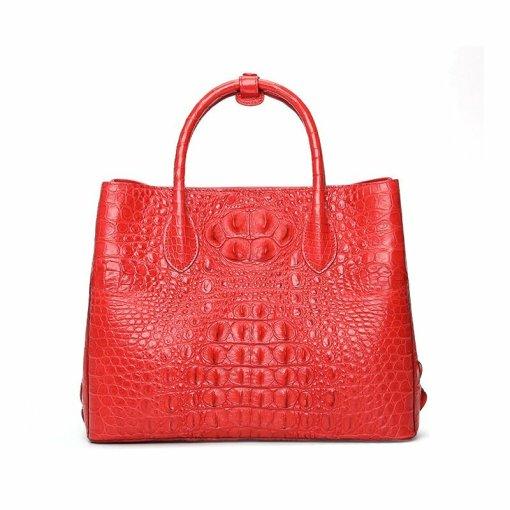 Womens Crocodile Skin Hornback Handbag Tote Zippers Bag
