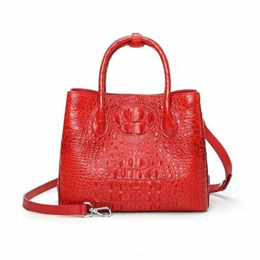 Womens Crocodile Skin Hornback Handbag Tote Zippers Bag Red