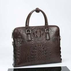 Mens Crocodile Leather Briefcase Brown