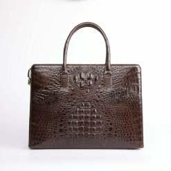 Mens Genuine Crocodile Briefcase Brown