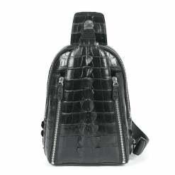 Men's Crocodile Chest Bag Sling Backpack Crossbody Shoulder Bags Black