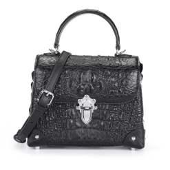 Genuine Crocodile Skin Womens Handle Handbag Fashion Satchel Black