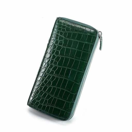 Genuine Croc Womens Wallet Alligator Purse Clutch Dark Green