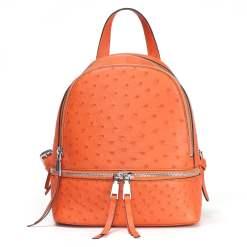 Genuine Ostrich Backpack for Women Elegant Ladies Travel Shoulder Bag Orange