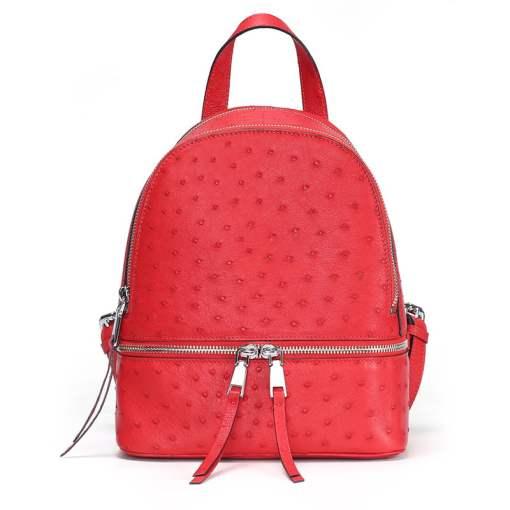 Genuine Ostrich Backpack for Women Elegant Ladies Travel Shoulder Bag Red