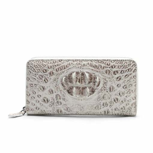 Genuine Crocodile Womens Zip Wallet Fashion Clutch Purse White