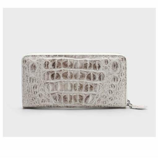 Womens Crocodile Zip Wallet Fashion Clutch Hornback Skin