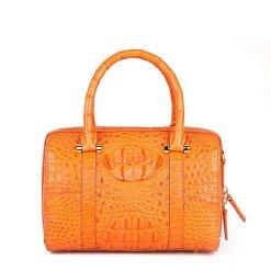 Genuine Crocodile Hornback Skin Women's Handbag Shoulder Bag Orange