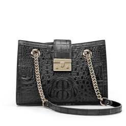 Genuine Crocodile Women's Chain Shoulder Bag Black