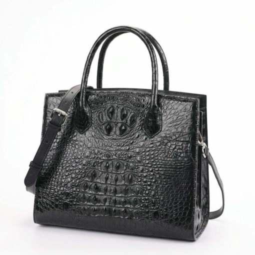 Women Genuine Crocodile Handbag Ladies Shoulder Bag Black