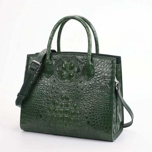 Women Genuine Crocodile Handbag Ladies Shoulder Bag Dark Green