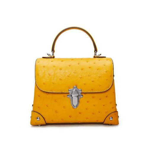 Genuine Ostrich Leather Womens Tote Handbag Yellow