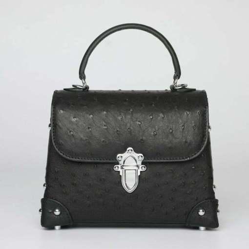 Genuine Ostrich Leather Womens Tote Handbag Black