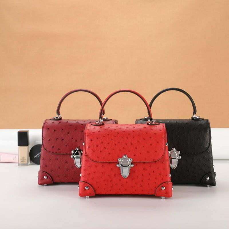 Genuine Ostrich Leather Womens Tote Handbag
