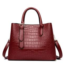 Crocodile Texture PU Leather Tote Shoulder Bag Red
