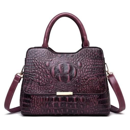 Convex Crocodile Pattern PU Leather Fashion Tote Handbag Purple