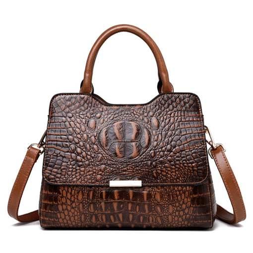Convex Crocodile Pattern PU Leather Fashion Tote Handbag Yellow
