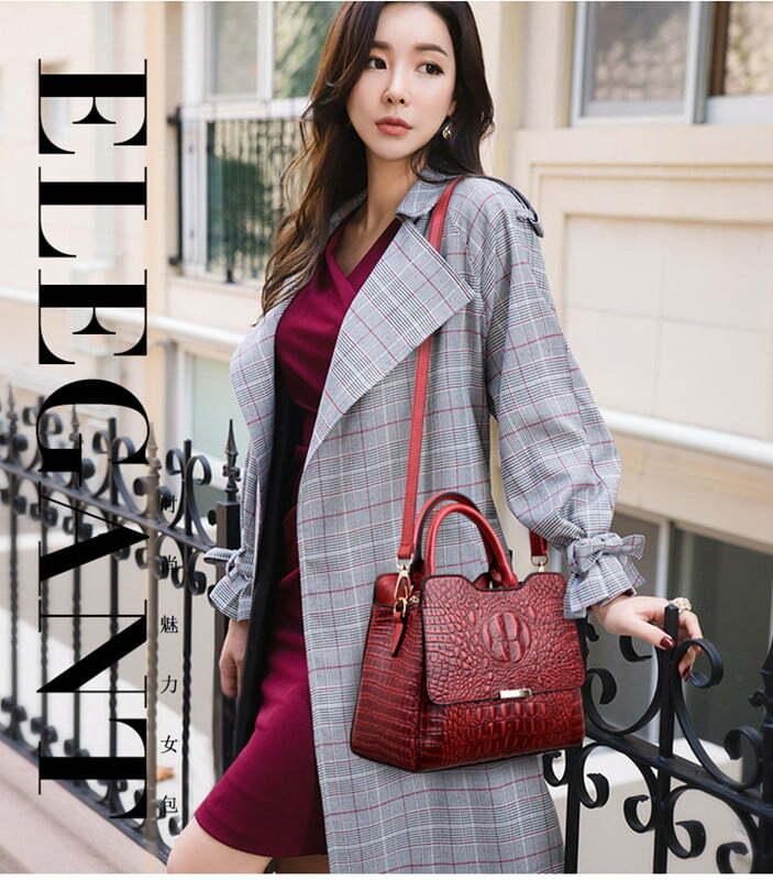 Convex Crocodile Pattern PU Leather Fashion Tote Handbag