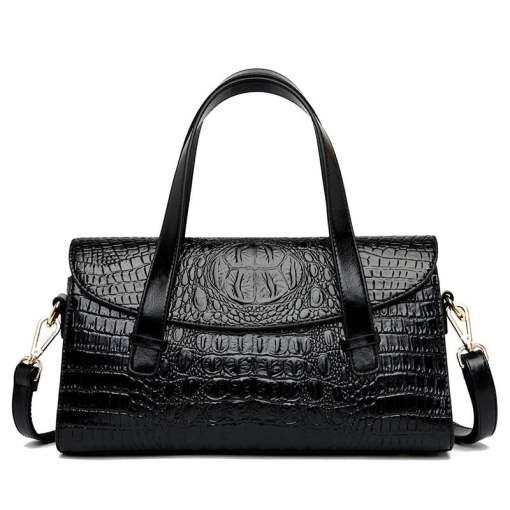 Fashion Vintage Crocodile Casual PU Leather Tote Bag Black