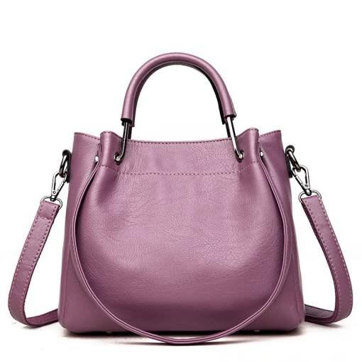 Leather Shoulder Strap Crossbody Shoulder Bag Purple