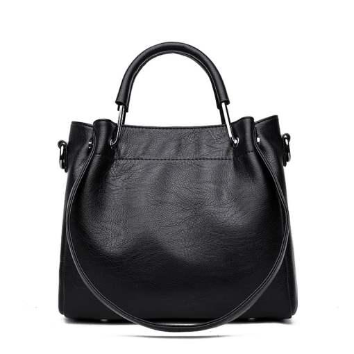 Leather Shoulder Strap Crossbody Shoulder Bag Black