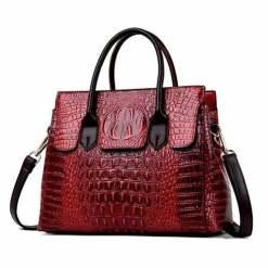 Fashion Crocodile Texture PU Leather Tote Bag Ladies Handbag Wine Red
