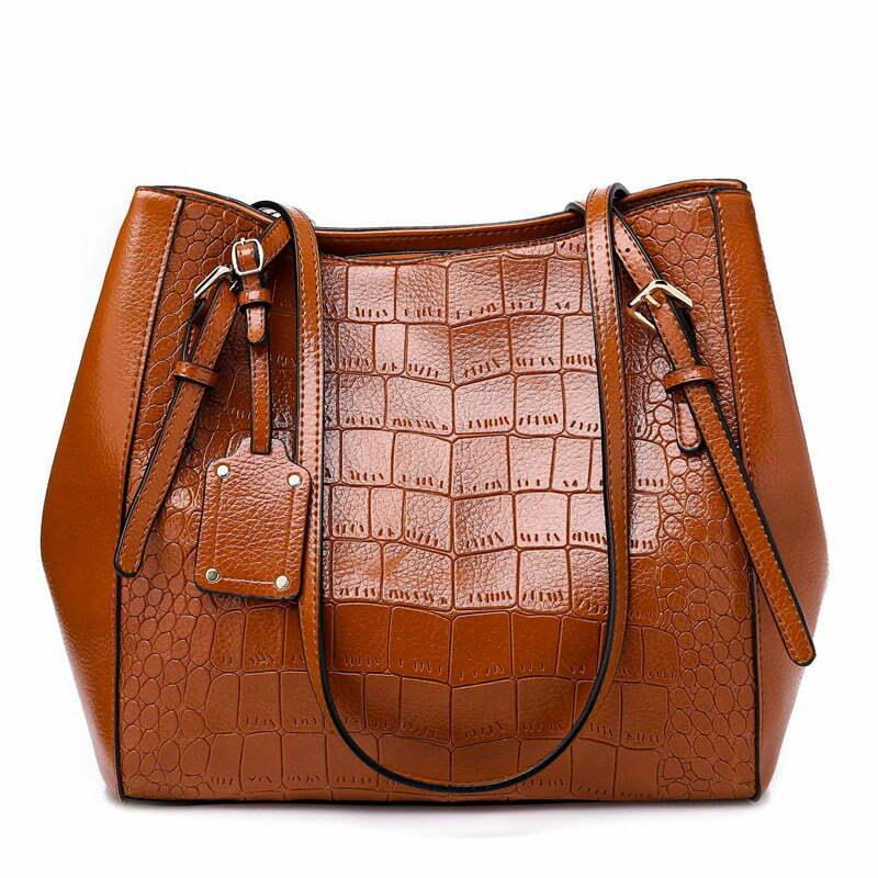 Crocodile Pattern Casual PU Shoulder Leather Shoulder Bags Brown