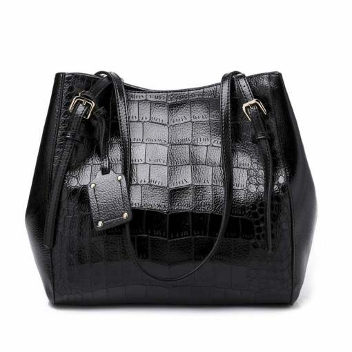 Crocodile Pattern Casual PU Shoulder Leather Shoulder Bags Black
