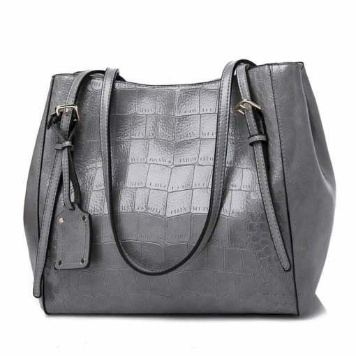 Crocodile Pattern Casual PU Shoulder Leather Shoulder Bags Grey