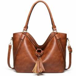 Fashion Designer Large Soft PU Leather Exotic Casual Shoulder Bags Brown