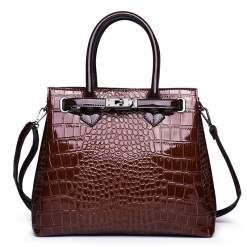 Luxury PU Leather Alligator Pattern Tote Crocodile Shoulder Bag Brown
