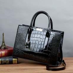 Crocodile Texture PU Leather Crossbody Tote Shoulder Bag Black