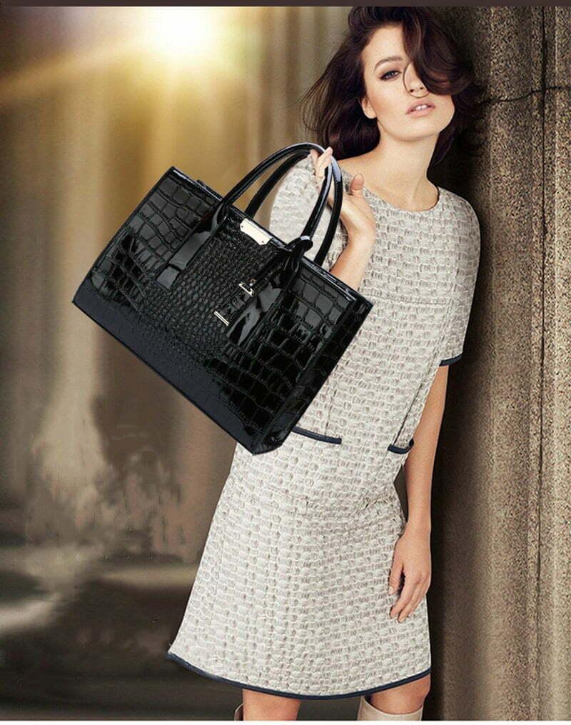Crocodile Texture PU Leather Crossbody Tote Shoulder Bag