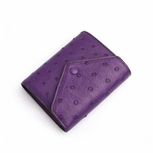 Genuine Ostrich Womens Billfold Wallet Purple