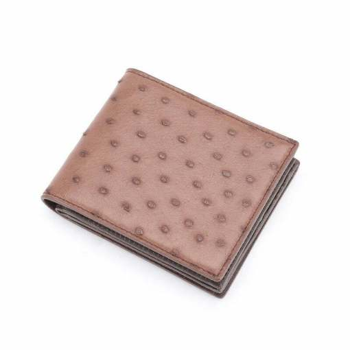 Genuine Ostrich Billfold Wallet for Men Brown