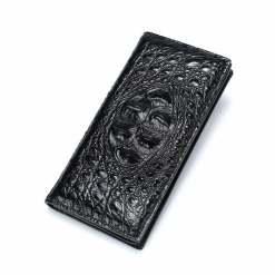 Mens Genuine Crocodile Flip Long Wallet Bifold Purse Black