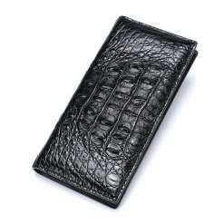 Genuine Crocodile Mens Flip Wallet Billfold Purse Black