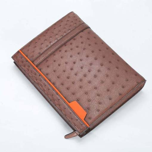 Ostrich Leather Pouch Men's Clutch Bag Brown