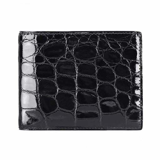 Genuine Crocodile Skin Men's Billfold Wallet Black