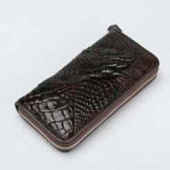 Mens Genuine Crocodile Zipper Long Wallet Purse Brown