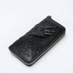 Mens Genuine Crocodile Zipper Long Wallet Purse Black