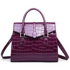 Vintage Crocodile Pattern Luxury Handbag Croco Leather Shoulder Bag Purple