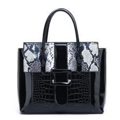 Luxury Designer Crocodile Pattern Patent Leather Shoulder Bags Black