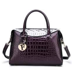 Exotic Croco Textur Single Strap Leather Tote Shoulder Bag Purple