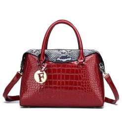 Exotic Croco Texture Single Strap Leather Tote Shoulder Bag Red