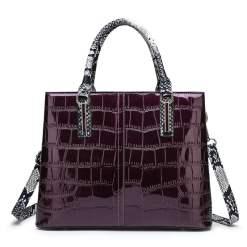 Women's Bags PU Leather Satchel Top Handle Bag Leather Handbags Purple