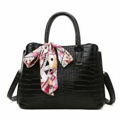 Women's Fashion PU Leather Shoulder Tote Bag Black