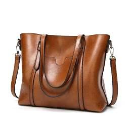 Women Genuine Leather Top Handle Satchel Tote Shoulder Bag Large Capacity Brown