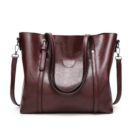 Women Genuine Leather Top Handle Satchel Tote Shoulder Bag Large Capacity Coffee